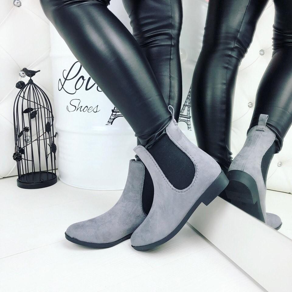 Резиновые ботиночки эко-замша серые и черные фото №3