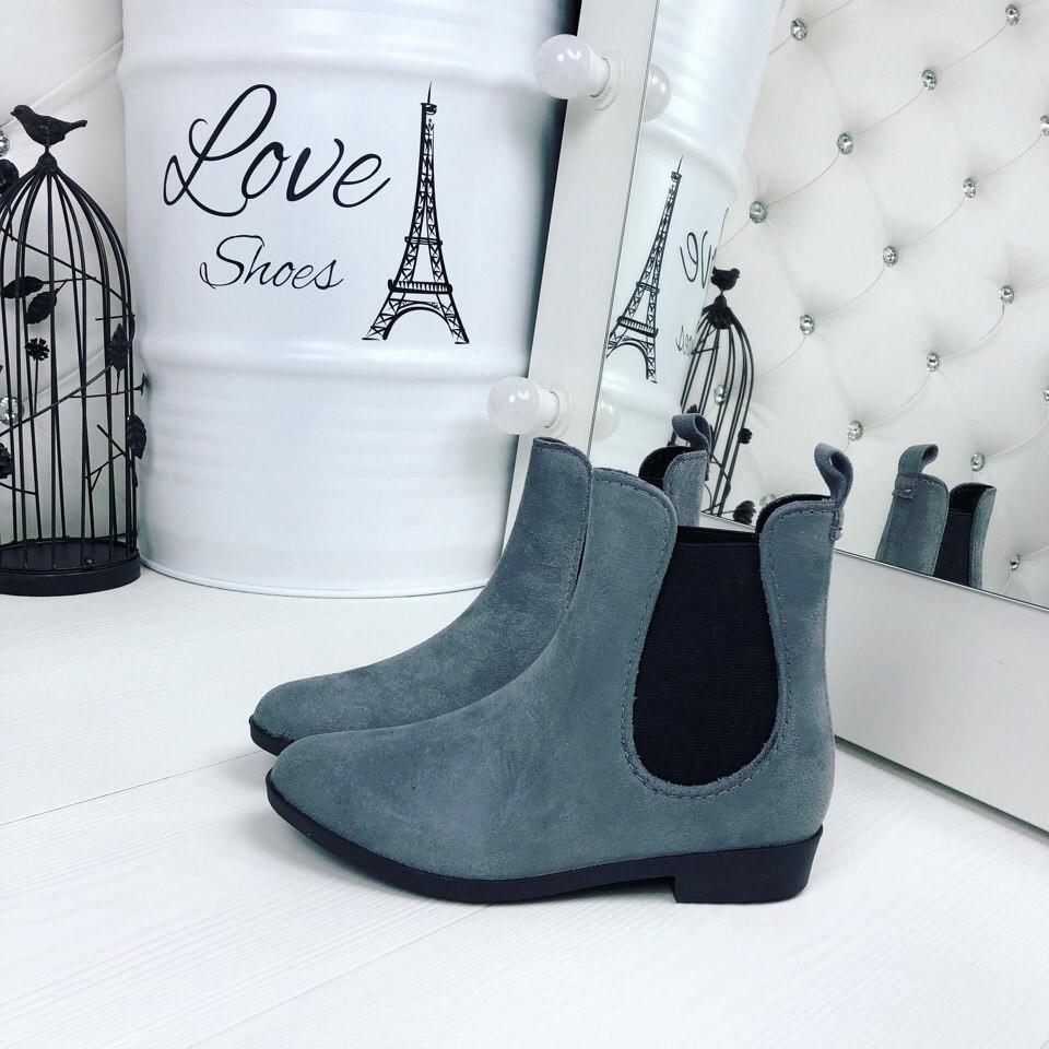 Резиновые ботиночки эко-замша серые и черные фото №4