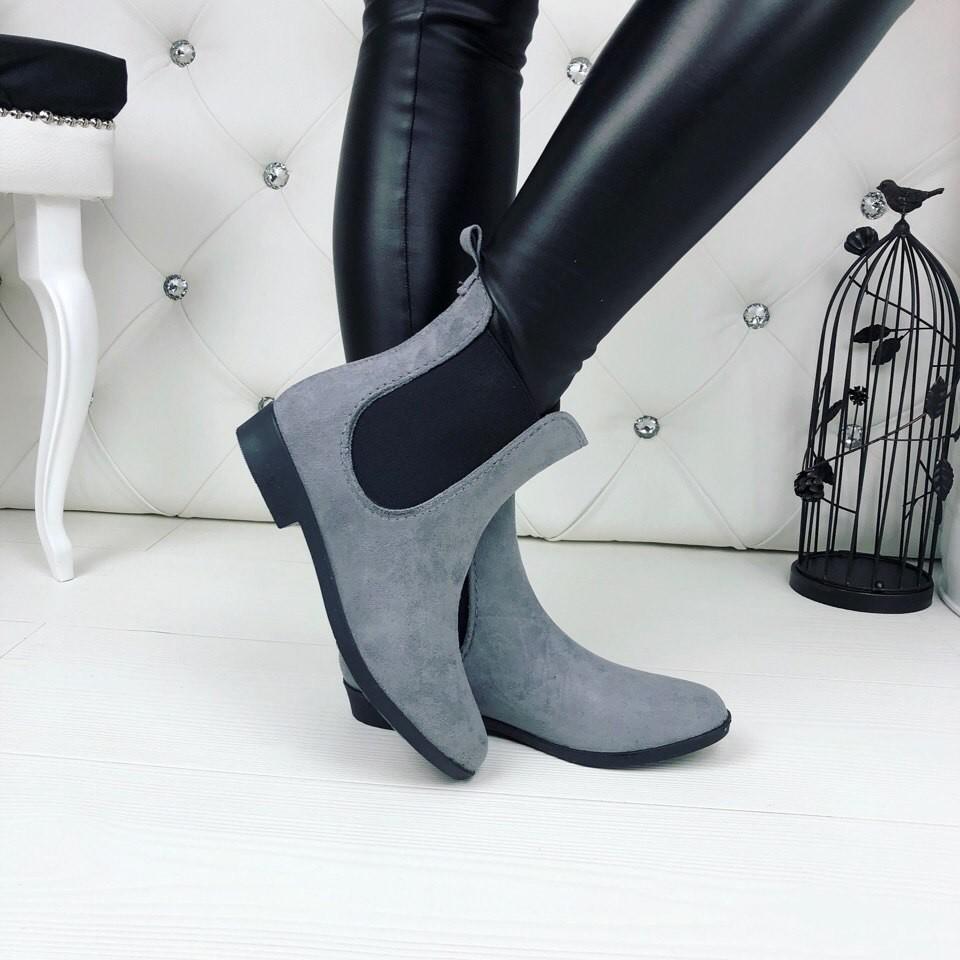 Резиновые ботиночки эко-замша серые и черные фото №5