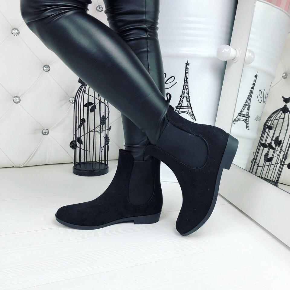Резиновые ботиночки эко-замша серые и черные фото №6