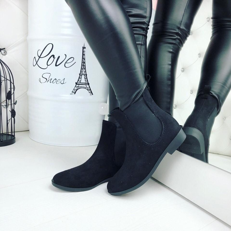 Резиновые ботиночки эко-замша серые и черные фото №7