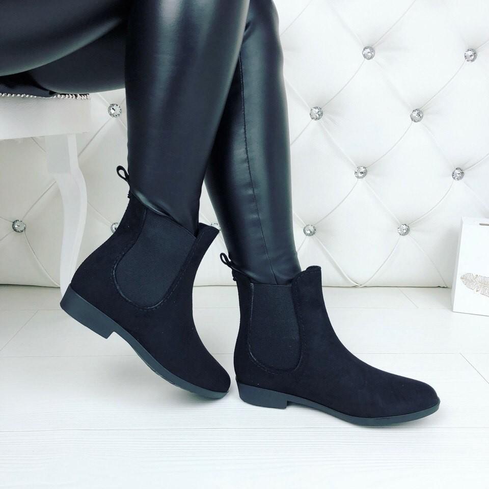 Резиновые ботиночки эко-замша серые и черные фото №8