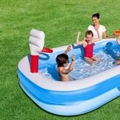 Семейный надувной бассейн Bestway 54122, с баскетболом