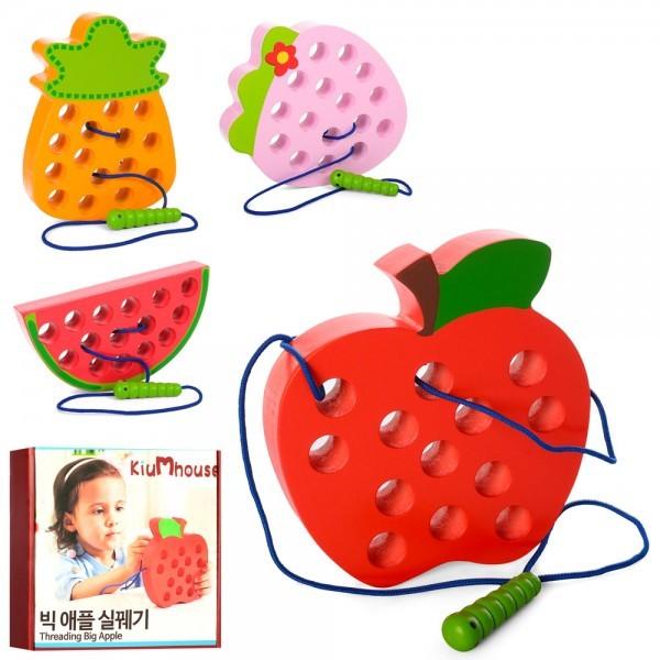 Деревянная игрушка шнуровка  фрукты, 15см, 4вида, в кор-ке, 18-18-3см фото №1