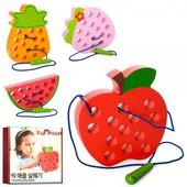 Деревянная игрушка Шнуровка  фрукты, 15см, 4вида, в кор-ке, 18-18-3см