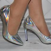 Туфли серебро голограмма