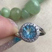 Кольцо серебряное Топаз голубой
