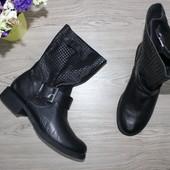 40 26см Novocento Кожаные сапоги с ремешками сапожки ботинки широкая холявка