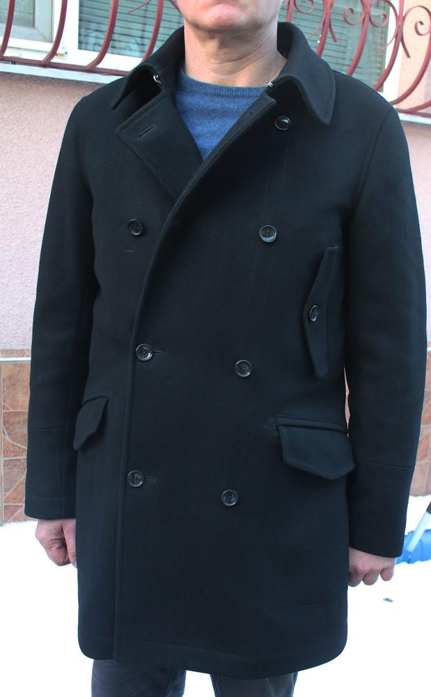 Стильное брендовое чёрное шерстяное мужское пальто Tommy Hilfiger фото №1