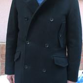 Стильное брендовое чёрное шерстяное мужское пальто Tommy Hilfiger
