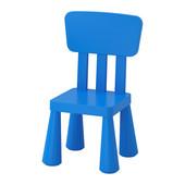Кресло со спинкой десткое маммут ИКЕА синее, крісло дитяче синє