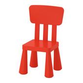 Кресло со спинкой десткое маммут ИКЕА красное, крісло дитяче червоне
