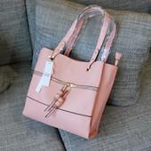 #17648 Gernas Pink Женская плотная сумка, внутри три отделения!