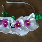 """Обруч """"Орхидея"""" ручной работы,  веночек,  цветы из лент"""