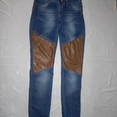 S, поб 46 эксклюзив! узкачи! джинсы скинни АС с кожаными вставками