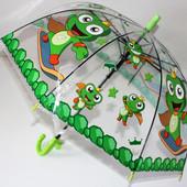 Детский зонт прозрачный трость грибком.