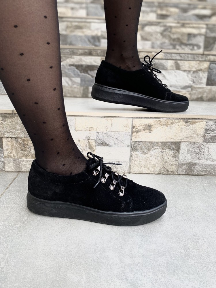 Женские слипоны туфли натуральная замша фото №1