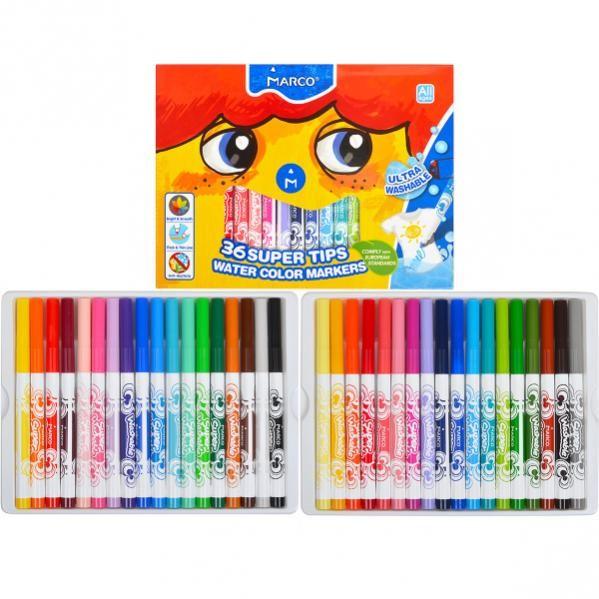 Фломастеры marco 36 цветов super washable №1630-36 фото №1