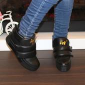 Ботинки женские черные на липучках