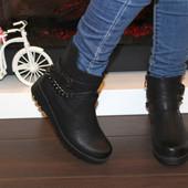 Ботинки женские черные с цепочкой Д531