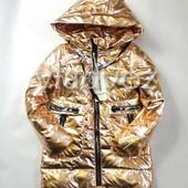 Подростковая демисезонная куртка пальто для девочки золото с бронзой 13-14 лет