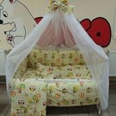 Детское постельное белье в кроватку бежевые совы Bonna 9 в 1