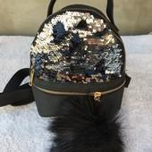Рюкзак черный с паетками.Женский/детский