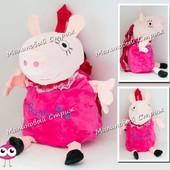 Рюкзак свинка Пеппа, мягкая игрушка детский рюкзак, 35 см