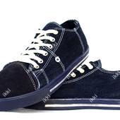 Мужские джинсовые кеды - кроссовки синего цвета (ПР-2803д)