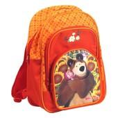Рюкзак Маша и Медведь от Росмэн красно-оранжевый плотная спинка в школу
