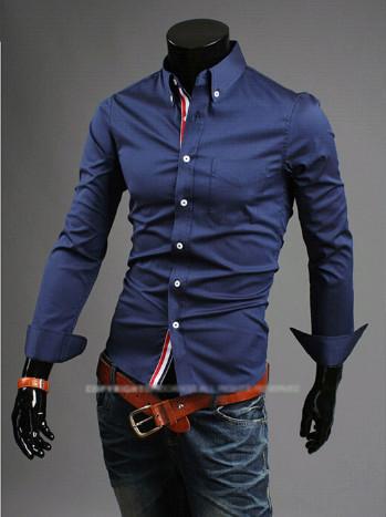 Стильная мужская рубашка приталенная с длинным рукавом темно-синяя код 44 фото №1