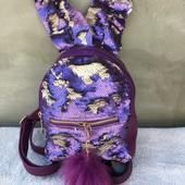 Рюкзак с паетками для девочек.Ушки.