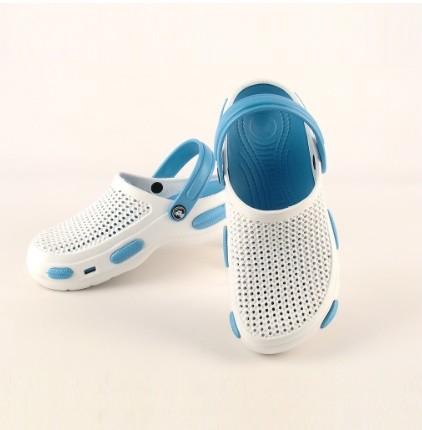 Кроксы белые с голубым стелька 24,5 см последняя пара! фото №1