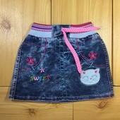 Детская джинсовая юбка рр.104-122 Кот Beebaby (Бибеби)