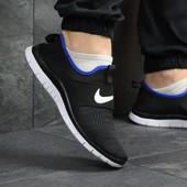 Кроссовки сетка Nike Free Run 3.0 black/blue