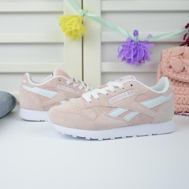 Персиковые замшевые кроссовки (розовые, пудровые) в стиле reebok classic 38\39 фото №1