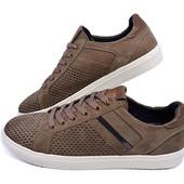 Мокасины мужские нубук с перфорацией Multi-Shoes