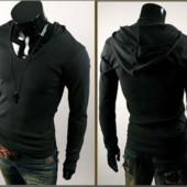 Мужская кофта толстовка с капюшоном m, l, xl, xxl черный код 42