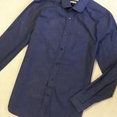 Рубашка коттоновая темно -синяя в принт, р.S/M