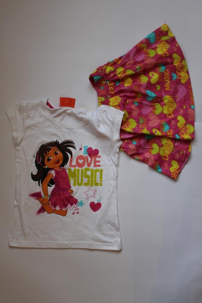 Фирменные летние комплекты костюм юбка и футболка dora, frozen фото №1
