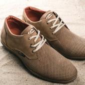 Перфорированые кожаные туфли Clarks, р. 40-43, код gavk-101220