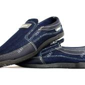 40 и 41 р Мокасины мужские джинсовые синего цвета (Бл-171с)