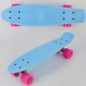 Скейт 7801 голубой, без света, доска 55см, колёса PU d 6см