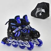 Ролики 9031 M Best Roller размер 35-38 цвет синий колёса PU, переднее колесо свет, в сумке