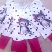 Летний комплект для девочек 2-5 лет) Турция
