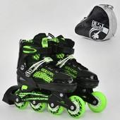 Ролики 5800 S best roller размер 31-34 цвет зелёный колёса PVC, переставные колёса, в сумке d 6.4cм