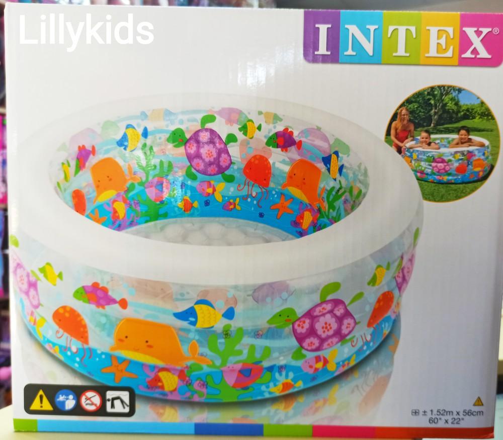 """Детский бассейн intex""""аквариум"""" 58480, 152*56 см, надувное дно, клапан, 360 л., 3,5 кг фото №1"""