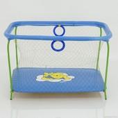 """Манеж игровой Kinderbox Люкс с крупной сеткой """"Винни Пух"""" (синий)"""
