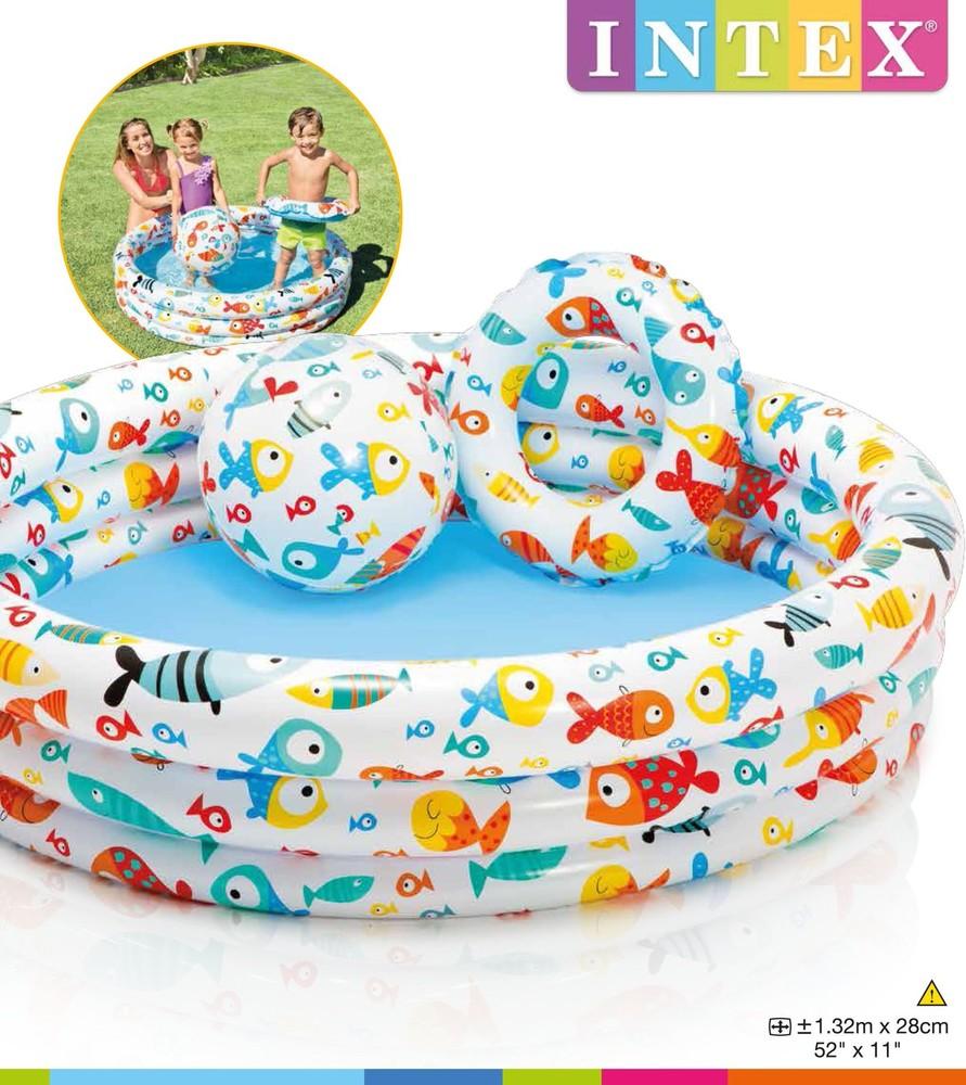 Надувной детский бассейн intex 59469 аквариум, рыбки с мячом и кругом фото №1