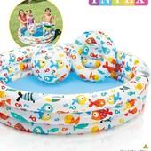 Надувной детский бассейн Intex 59469 Аквариум, рыбки с мячом и кругом